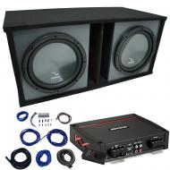 "Harmony HA-R154 Custom 15"" Loaded Sub Box w/ Kicker 44KXA8001 Amp & Install Kit"