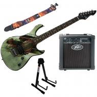 Peavey Superman Rockmaster Electric Guitar, Stand, Backstage Amp, & Strap