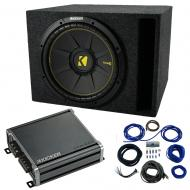 "Single 12"" Kicker CompC Sub Package with Kicker 46CXA4001 Amp & Vented Enclosure"