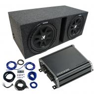 "Dual 12"" Kicker CompC Sub Package with Kicker 46CXA4001 Amp & Vented Enclosure"