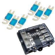 Harmony Audio Mini ANL MIDI 4-Way Fused Distribution Block with Fuses