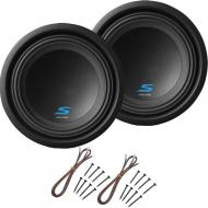 "Alpine S-W10D2 Car Audio Type S Dual 2 Ohm 1200W 10"" Subwoofers with Install Kit"