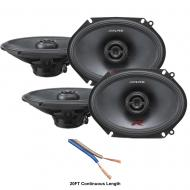 "Alpine R-S68 Car Audio Type R Series 6x8"" 300W Speakers - 2 Pair with 20' Wire"