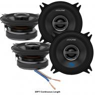 "Alpine S-S40 Car Audio Type S Series 4"" 180W Speakers - 2 Pair with 20' Wire"