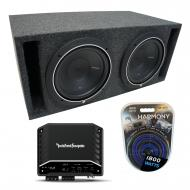 Universal Car Stereo Slotted S Port Dual 8 Rockford Punch P1S48 Sub Box R2-500X1