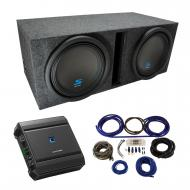 """Universal Car Stereo Vented Port Dual 12"""" Alpine Type S S-W12D2 Sub Box Enclosure with S-A60..."""