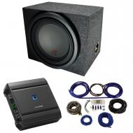 """Universal Car Stereo Rearfire Sealed Single 12"""" Alpine Type R R-W12D4 Sub Box Enclosure with..."""