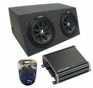 "Universal Car Stereo Hatchback Sealed Dual 10"" Kicker Comp C10 Sub Box Enclosure & CXA80..."