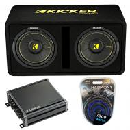 "Kicker 44DCWC102 CompC Ported 10"" Loaded Sub Box w/ CXA800.1 Amp & Wire Kit"