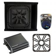 Kicker L7S12 Sub Ported Box with CXA800.1 Amp, Charcoal LED Grill & Install Kit