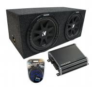 "Universal Car Stereo Rearfire Sealed Dual 10"" Kicker Comp C10 Sub Box Enclosure & CXA800..."