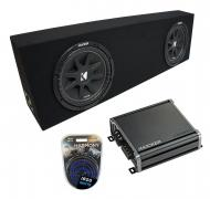 "Universal Regular Cab Truck Kicker Comp C10 Dual 10"" Black Sub Box Enclosure & CXA800.1 Amp"