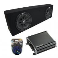 "Universal Regular Cab Truck Kicker Comp C12 Dual 12"" Loaded Sub Box Bundle with Kicker CXA80..."
