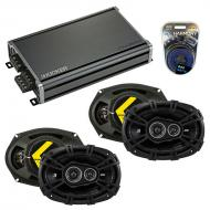 Compatible with Jeep Compass 2007-2014 Speaker Replacement Kicker (2) DSC693 & CXA360.4 Amp