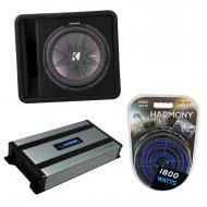 """Kicker 43VCWR122 12"""" CompR Series Sub 500W RMS Vented Loaded Subwoofer Box Bundle with Harmo..."""