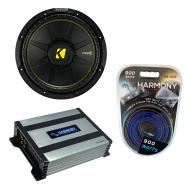"Kicker CWD12 Car Audio CompC Subwoofer Dual 4 Ohm 12"" Sub 44CWCD124 Bundle with Harmony HA-A..."