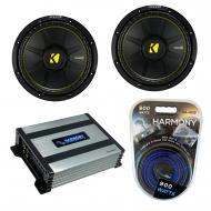"Kicker (2) CWS10 Car Audio CompC Subwoofer 10"" Sub 44CWCS104 Bundle with Harmony HA-A400.1 A..."