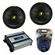"Kicker (2) CWS12 Car Audio CompC Subwoofer 12"" Sub 44CWCS124 Bundle with Harmony HA-A400.1 A..."