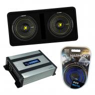 "Kicker DCWC10 Car Audio CompC Ported Dual 10"" Loaded Sub Box 44DCWC102 Bundle with Harmony H..."