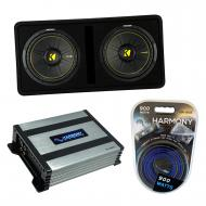 "Kicker DCWC12 Car Audio CompC Ported Dual 12"" Loaded Sub Box 44DCWC122 Bundle with Harmony H..."