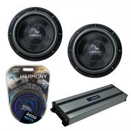 """Harmony Audio (2) HA-C102 Car Stereo Competition Carbon 10"""" Sub 2000W Subwoofer Bundle with ..."""