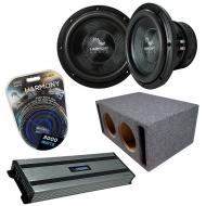 "Harmony Audio HA-C102 Competition Dual 10""  Loaded Vented Sub Box Bundle with Kicker Harmony..."