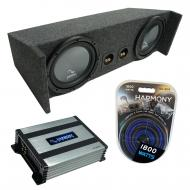 "Compatible with 1987-2006 Jeep Wrangler YJ TJ Harmony R104 Dual 10"" Loaded Sub Box Bundle wi..."