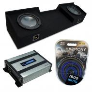 Compatible with 2004-2015 Nissan Titan King or Crew Truck Harmony R124 Dual 12 Sub Box & Harm...