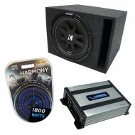 "Universal Car Stereo Vented Port Single 12"" Kicker Comp C12 Loaded Sub Box Bundle with Harmo..."