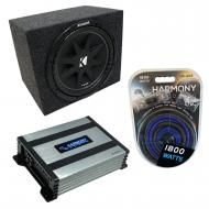 "Universal Car Stereo Rearfire Sealed Single 10"" Kicker Comp C10 Sub Box Enclosure & Harm..."