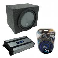 "Universal Car Stereo Rearfire Sealed Single 15"" Harmony R154 Sub Box & Harmony HA-A800.1"