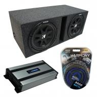 "Universal Car Stereo Vented Port Dual 12"" Kicker Comp C12 Sub Box Enclosure & Harmony HA..."