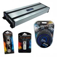 Harmony Audio HA-A1500.1 Car Stereo Class D Amp Mono Subwoofer Amplifier Bundle with Harmony Audi...