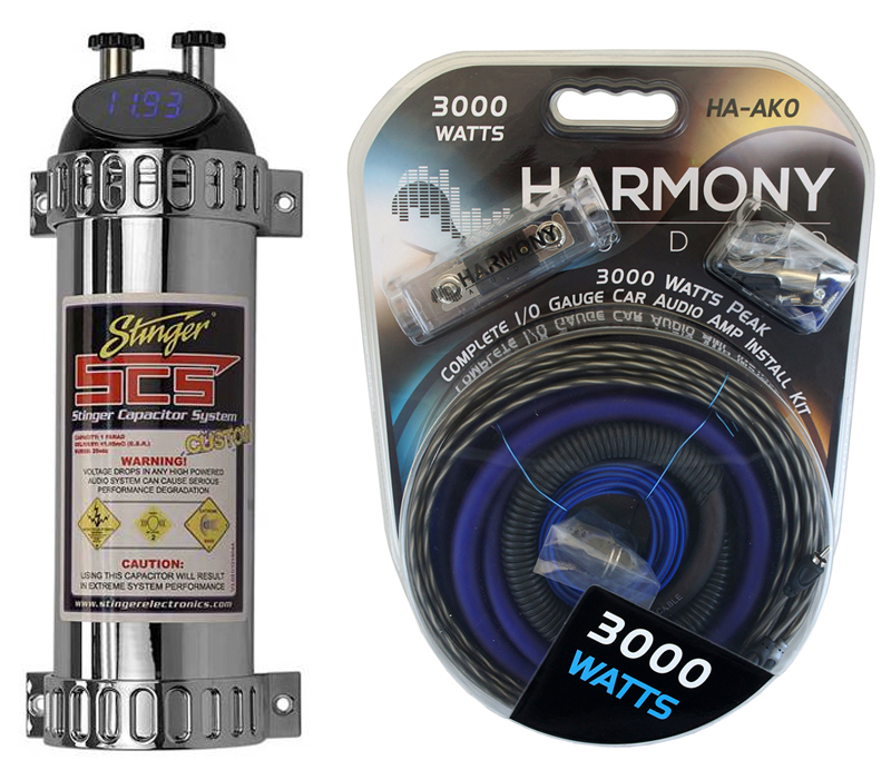 Car Audio Capacitor Install Package Includes Stinger SHK4141 & 1/0