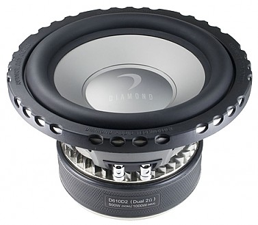 Diamond D610D2 Car Audio D6 Series 500W Dual 2 Ohm Subwoofer