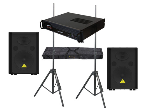 "DJ Package Behringer Pro Audio (2) VS1220 Passive 600 Watt 12"" Speakers with Adjustable Stands & Gemini XGA-2000 Power Amplifier System"
