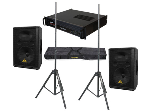 "DJ Package Behringer Pro Audio (2) VP1220 Passive 800 Watt 12"" Speakers with Adjustable Stands & Gemini XGA-2000 Power Amplifier System"