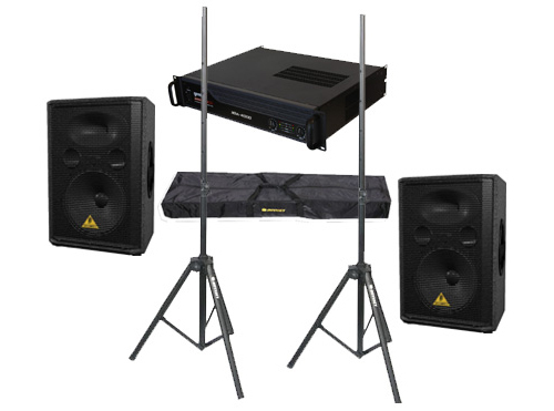 "DJ Package Behringer Pro Audio (2) VP1220 Passive 800 Watt 12"" Speakers with Adjustable Stands & Gemini XGA-4000 Power Amplifier System"