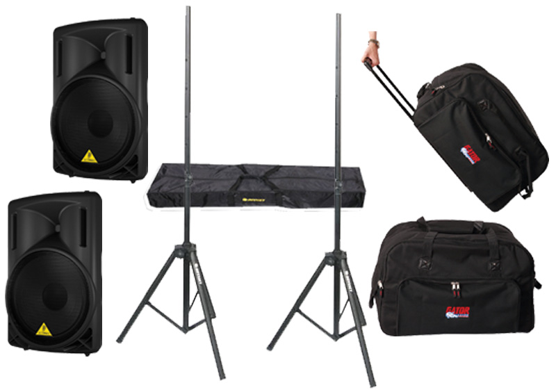 "DJ Package Behringer Pro Audio (2) B215D Powered 550 Watt 15"" Speakers with Adjustable Stands & (2) Gator Cases Rolling Gig Bags"