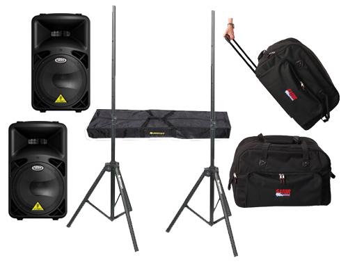 """DJ Package Behringer Pro Audio (2) B812NEO Powered 1260 Watt 12"""" Mixer Speakers with Adjustable Stands & (2) Gator Cases Rolling Gig Bags"""