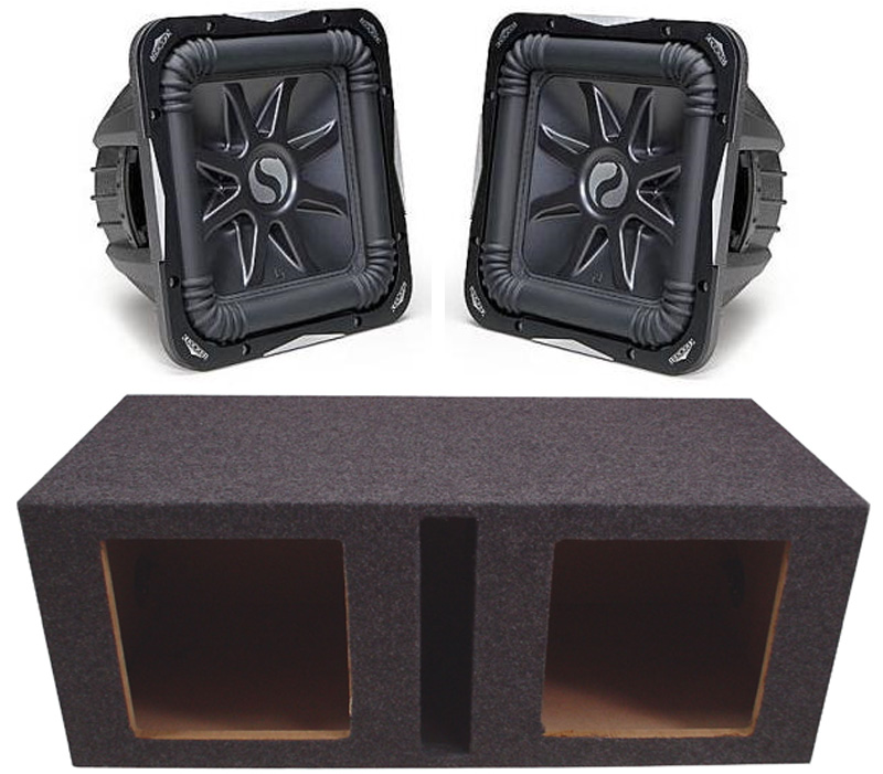 """Kicker Subwoofer Package (2) S12L7 Subs & Dual 12"""" Vented Enclosure"""