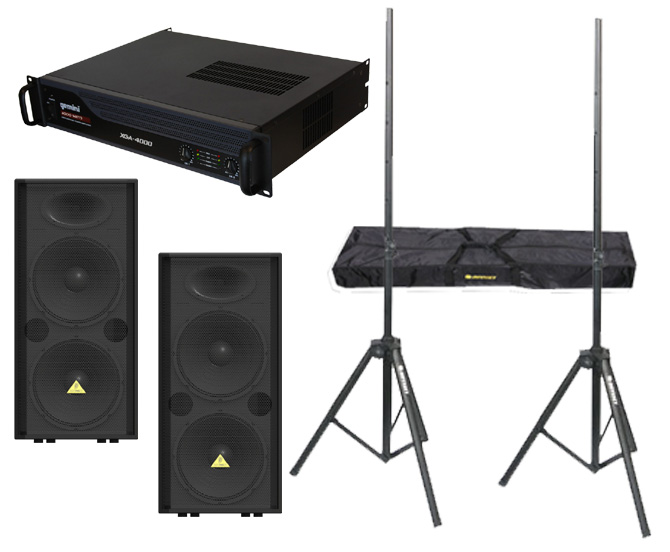 "DJ Package Behringer Pro (2) VP2520 Passive Dual 15"" 2000 Watt Speakers with Adjustable Stands & Gemini XGA-4000 Power Amplifier System"