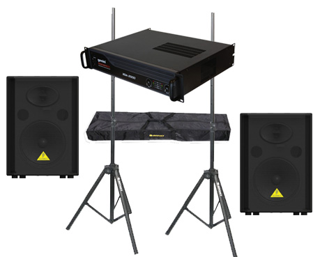 "DJ Package Behringer Pro Audio (2) VS1520 Passive 600 Watt 15"" Speakers with Adjustable Stands & Gemini XGA-2000 Power Amplifier System"