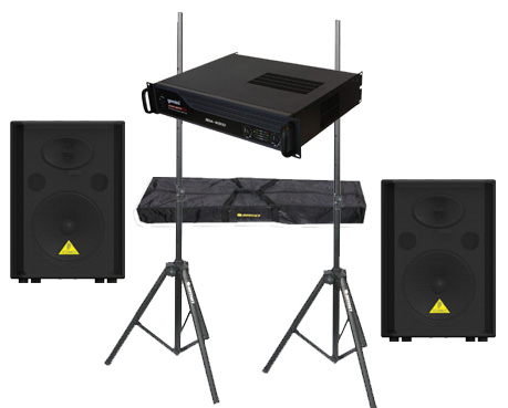 "DJ Package Behringer Pro Audio (2) VS1520 Passive 600 Watt 15"" Speakers with Adjustable Stands & Gemini XGA-4000 Power Amplifier System"