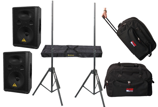 "DJ Package Behringer Pro Audio (2) VP1520 Passive 1000 Watt 15"" Speakers with Adjustable Stands & (2) Gator Cases Rolling Speaker Gig Bags"