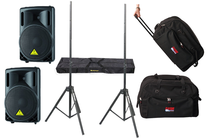 "DJ Package Behringer Pro Audio (2) B215XL Passive 1000 Watt 12"" Speakers with Adjustable Stands & (2) Gator Cases Rolling Speaker Gig Bags"