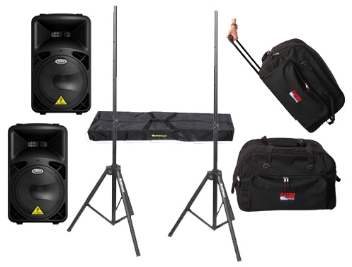 "DJ Package Behringer Pro Audio (2) B815NEO Powered 1260 Watt 15"" Mixer Speakers with Adjustable Stands & (2) Gator Cases Rolling Gig Bags"