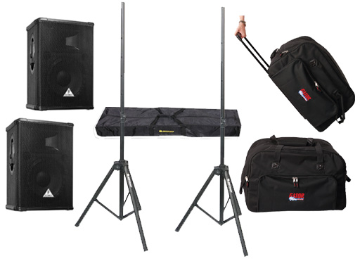 "DJ Package Behringer Pro Audio (2) E1520A Powered 400 Watt 15"" Mixer Speakers with Adjustable Stands & (2) Gator Cases Rolling Gig Bags"