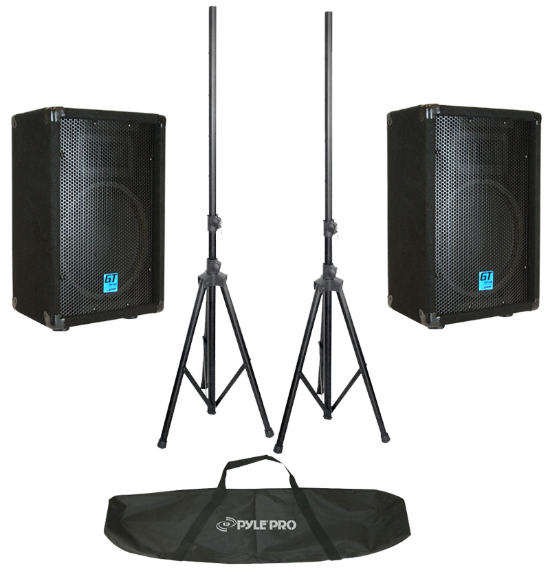 "(2) Gemini GT-1504 Pro Audio DJ 15"" Passive 1400 Watt PA Speaker / Monitor Pair & Tripod Stands"