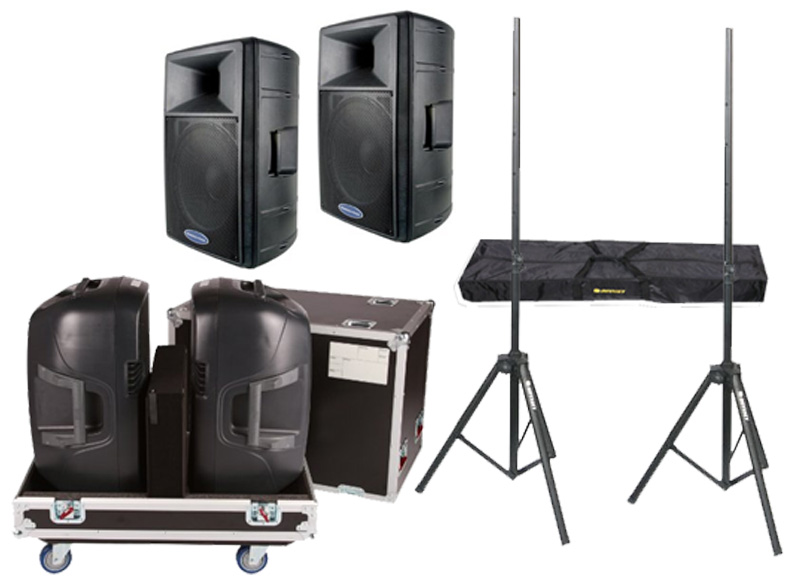 "DJ Package American Audio Pro (2) DLS-15 Passive 15"" 900 Watt Speakers and Gator Cases G-TOUR 2X15-SPKR Rolling Caster Wheel Case with Stands"